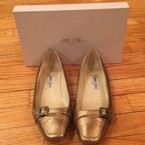 Jimmy Choo Gold Loafers